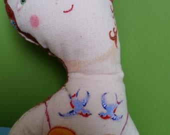 Handmade Art Doll- Lady- Circus Performer- Vintage Inspired