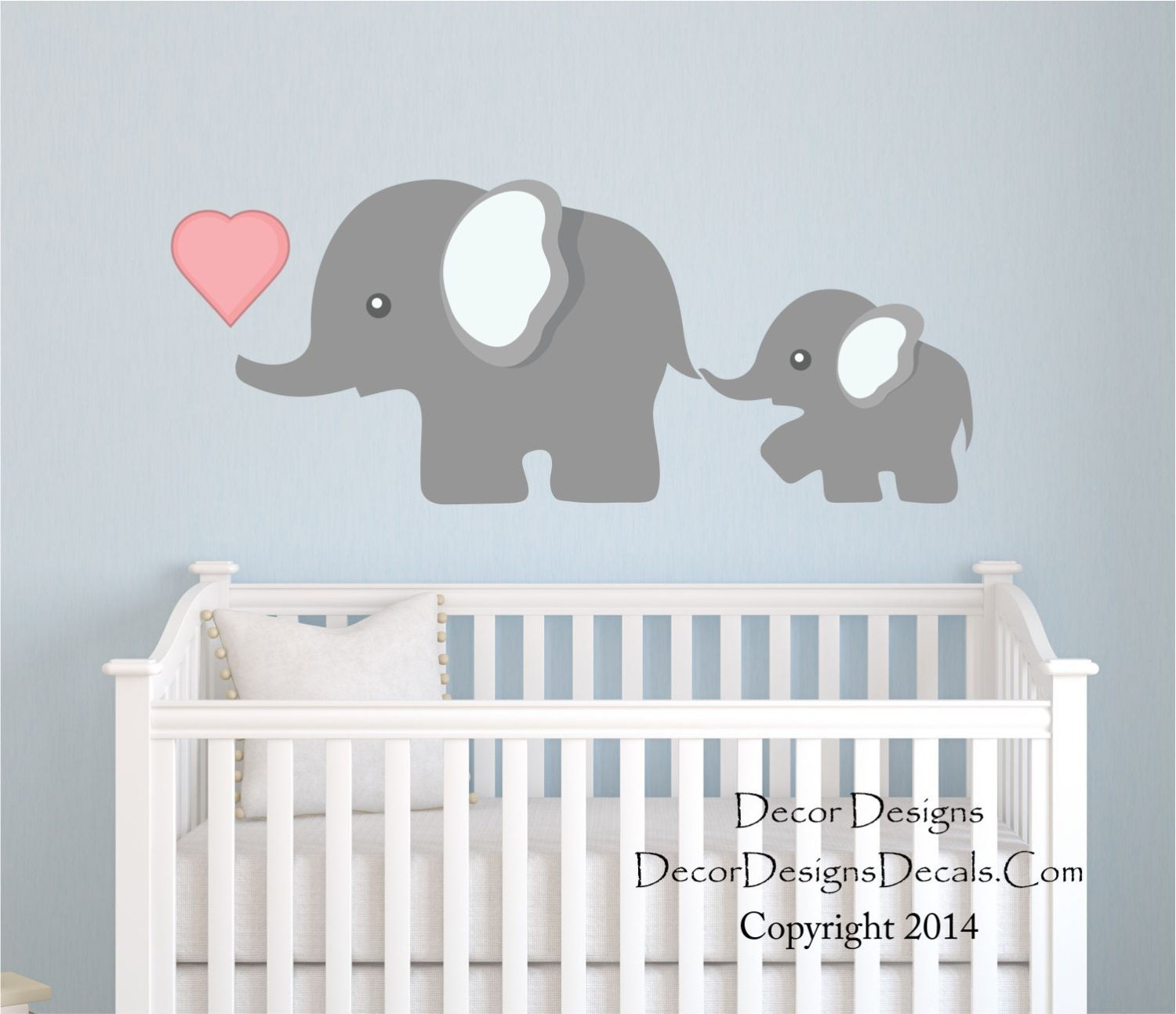 elephant wall decal nursery wall decal mom and by decordesigns. Black Bedroom Furniture Sets. Home Design Ideas