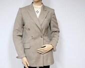 1980's Blazer Jacket Vintage Blazer Jacket Boyfriend Style Linen Like Wool Taupe Double Breasted Hugo Buscati Size 2