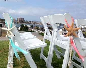 Beach Wedding Starfish Chair Decoration with Satin and Sheer Ribbons and Cording - Choose from 24 Ribbon Colors