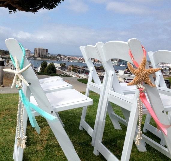 Beach Wedding Decorations Ideas: Beach Wedding Starfish Chair Decoration With Satin And Sheer