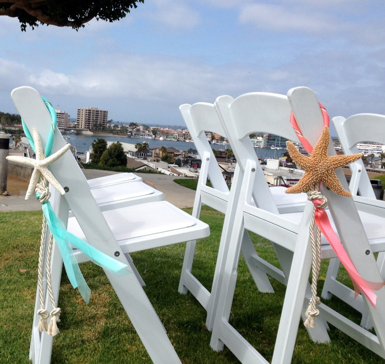 Beach Wedding Starfish Chair Decoration With Satin And Sheer