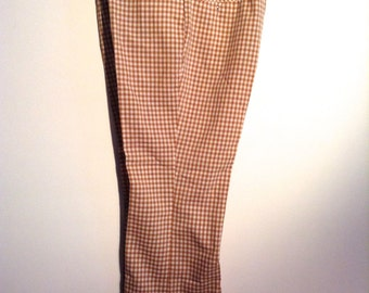Men's Sports Slacks by Etonic, Eaton.  Brown & White Checked. Made in USA.  Vintage 1970.