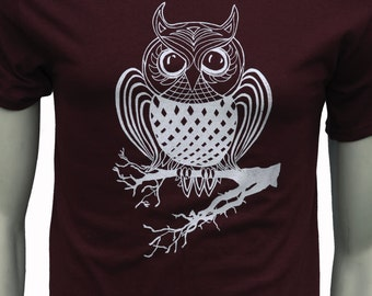 Owl| Men's regular T Shirt| Art by MATLEY| up to 5XL| Unisex| Bird| Gifts for him| Gifts for her.