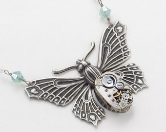 Steampunk Necklace Vintage watch movement silver Victorian Moth Butterfly blue topaz opal crystal pendant Statement Steampunk Jewelry 2535