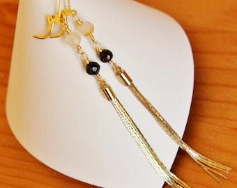 Reclaimed gemstone tassel earrings recycled eco friendly vintage assemblage jewelry upcycled repurposed beaded agate stone gemstone chic