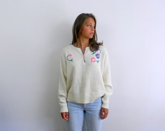 1970s Sweater .... Vintage 70s Ivory Sweater with Intarsia Flowers ... Plus Size
