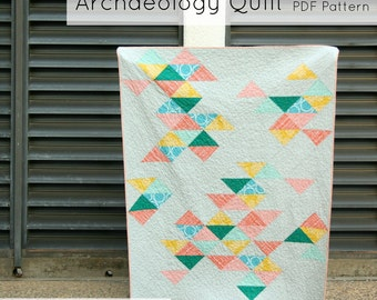 Archaeology Quilt - Modern Quilt Pattern - INSTANT DOWNLOAD PDF file
