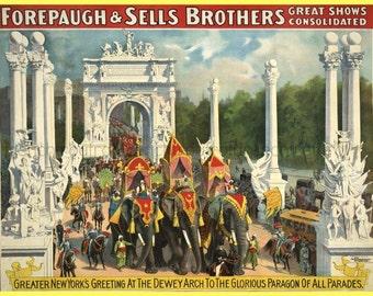 antique victorian circus poster elephants parade new york city illustration digital download