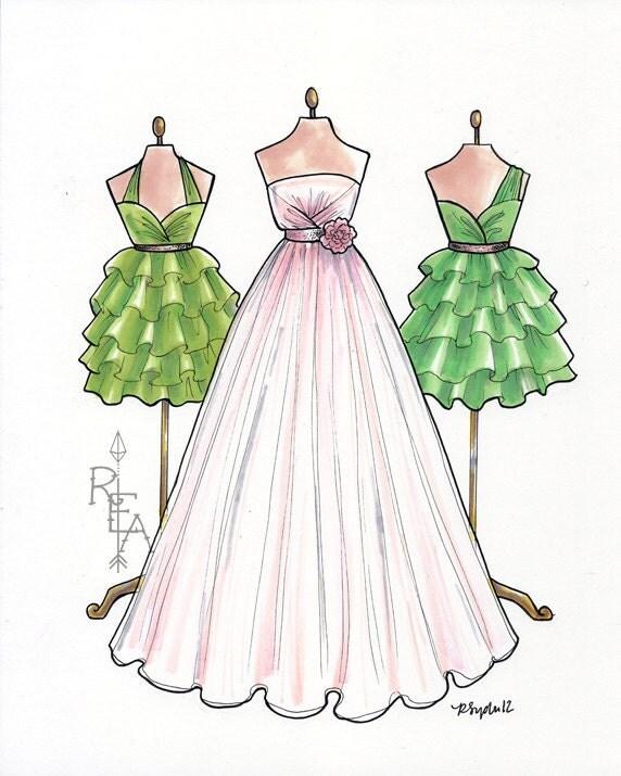 Vintage Wedding Dresses Bristol: Fashion Illustration Blush Pink Wedding Gown By