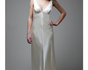 """Low Back, Deep V-neck, Silk Satin Bias Gown, The """"Nora Gown"""""""