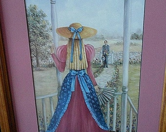 GLYNDA TURLEY PICTURE Calling On Callie Southern Belle Girl Victorian Porch Fretwork Boy Man Gentleman Pink Blue Cat Kitten Limited Edition