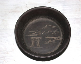 Japanese Wood Bowl Small - Hand Carved - Mt Mount Fuji - Serving or Decor