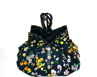 GIANNI VERSACE Vintage Couture Handbag Origami Floral Black Studded Leather Bucket Tote  - AUTHENTIC -