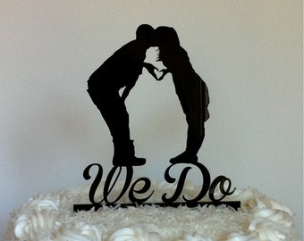 Kissing Couple Silhouette Wedding Cake Topper  WE DO Cake Topper Mr and Mrs Silhouette Wedding Cake Topper Bride and Groom Cake Topper