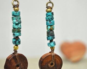 Dark Wood Disc  and Turquoise Heishi  Bead Earrings