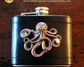 Flask - copper octopus on black leather (5 oz), steampunk pirate hipster goth groomsman wedding