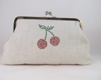 Cherries Clutch Purse-Clutch-Handbag-Kisslock-8 inch