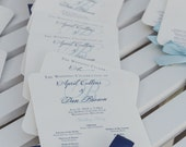 Navy Wedding Programs / Wedding Program Fans /  Nautical Wedding Program / Navy and Light Blue Wedding Fans - The Navy Allison Fan Sample