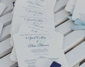 PRINTABLE Navy Program Fans Wedding Nautical