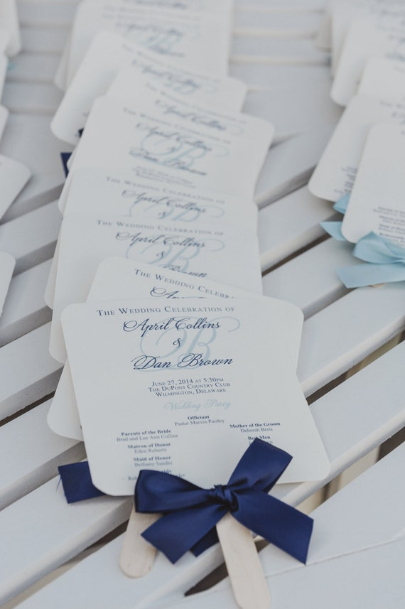Navy Wedding Program Fan / Light Blue Program / Nautical Wedding Program / Custom Wedding Fans - The Navy Allison Fan Sample