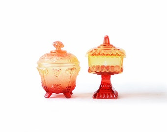 Two Ombre Candy Dishes with Lids | Red and Yellow Glass Ambertina