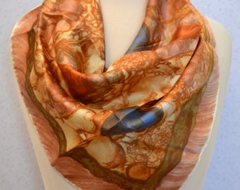 Champagne Space Age Painted Vintage Square Scarf