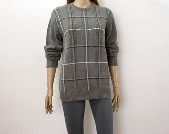 Vintage 1980s Men's Sweater Oscar de la Renta Gray Windowpane Pullover Sweater / ML