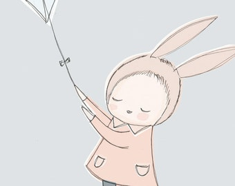 "A4 or 8x10"" - Nursery Art Poster - Childrens Poster - Baby Girl Bunny Rabbit Flying a Kite in the Sky - Pastel Blue version"