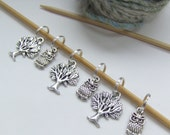 Owl in a Tree -  Stitch markers
