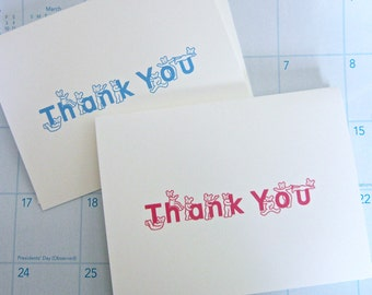 Baby Thank You Note Cards, Teddy Bear Thank You Cards, Set of 10/Girl or Boy Pink or Blue/Baby Birthday, Baby Birth, Baptisms, Baby Showers