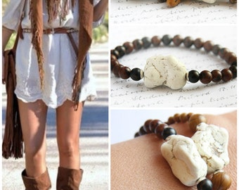 Bohemian Jewelry, Natural White Turquoise Bracelet, Stack Bracelet, Brown Beige Cream Bohemian Tribal Bracelet, Beach Summer Jewelry