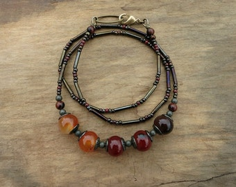 Red & Orange Agate Necklace, Bohemian style vintage inspired grenadine agate ombre jewelry with golden brass