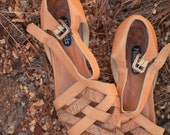 vintage genuine leather tan strap sandals womens 8 8.5 made in italy
