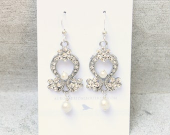 Vintage Bridal earrings, Chandelier, wedding earrings, antique silver finish - Now Ready to Ship