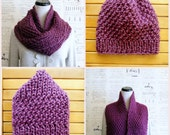 Hand Knit Chunky Infinity Scarf with matching knit beanie hat, Fig Light Fuchsia, Ready to Ship