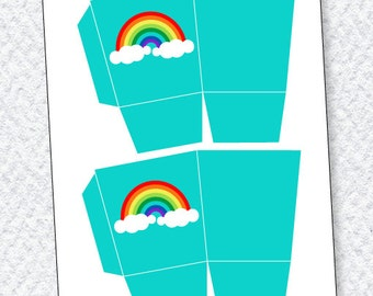 Rainbow Party PRINTABLES Favor Box from Love The Day