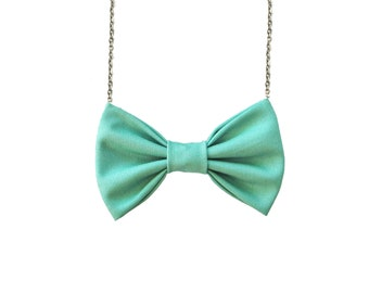 Pastel Green - Bow Tie Necklace , Bowtie for Women and Girls, Pre Tied Custom Chain Necklace Bowtie, Double Folded BowTie