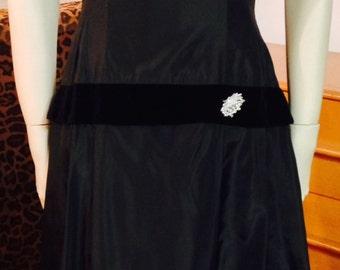 Black Satin Dress Velvet 1940s Jo Dee 1940s Evening Dress Mad WW2 Mid Century Modern