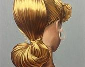 Small Matted Print of ORIGINAL OIL PAINTING Vintage Blonde Barbie Doll Toy Realism Surrealist Pop Art Portrait