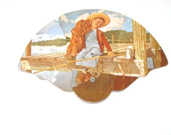 Funeral Home Fan, Vintage,  Boy With Dog