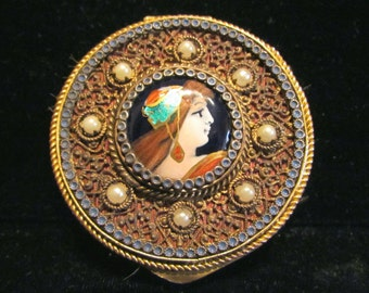 Antique French Portrait Compact 1800's Ormolu Filigree Gold Enamel Pearl Powder Mirror Compact EXTREMELY RARE