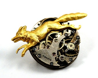 Steampunk Fox Pin, Fox Brooch, Watch Movement Pin