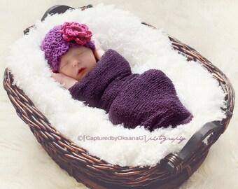 Baby Girl Hat, NEWBORN 0 to 1 Months Baby Girl Hat, Girl Flapper Hat, Plum Purple, Fuchsia Flower, Newborn Photo Prop, Baby Gift, Kids, Baby