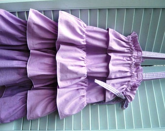 Ruffle Laundry/Storage/Toy Bag-Ombre Hand Dyed -Girls, Nursery, Toddler, Lavender, Purple, Shower Gift