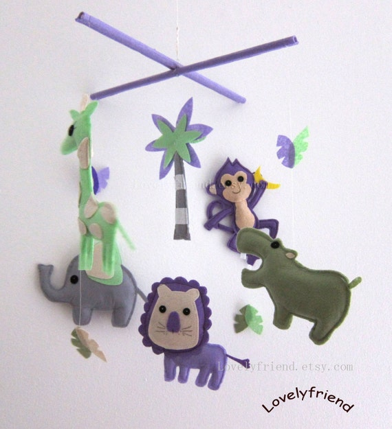 """Baby Crib Mobile - Baby Mobile - """"Green Woodland Wonders"""" (Pick your color) - Crib Mobile"""