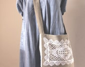 Linen crossbody bag, vintage embroidery, lace, Victorian buttons
