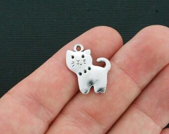 10 Cat Charms Antique Silver Tone - SC4095