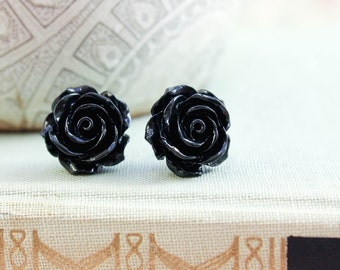 Black Rose Earrings Surgical Steel Posts Flower Studs Gothic Floral Black Earrings Halloween Goth Dark Romantic Resin Jewelry