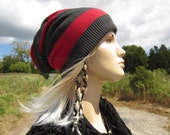Striped Red Gray Slouch Back Beanie Hat Wide Stripe Slouchy Beanie Charcoal Grey Cotton Knit Dreadlock Dread  Hat  A1457